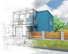 Illustrationofanideaofbluemodernhouseconstruction